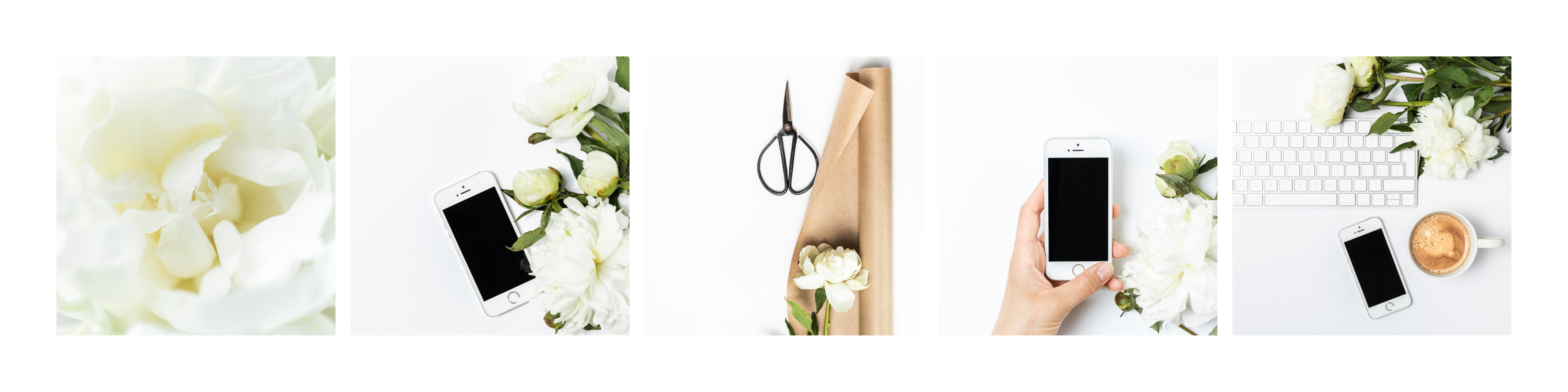 Overview image for a styled stock bundle featuring white peonies and an iPhone SE