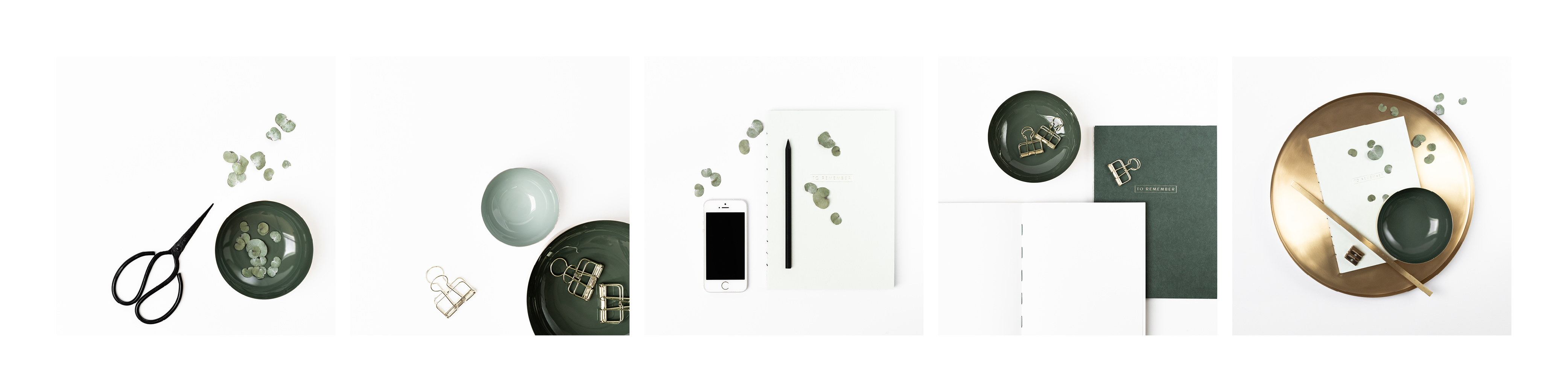 Overview images for a moody and elegant styled stock bundle featuring golden and green notebooks and bowls