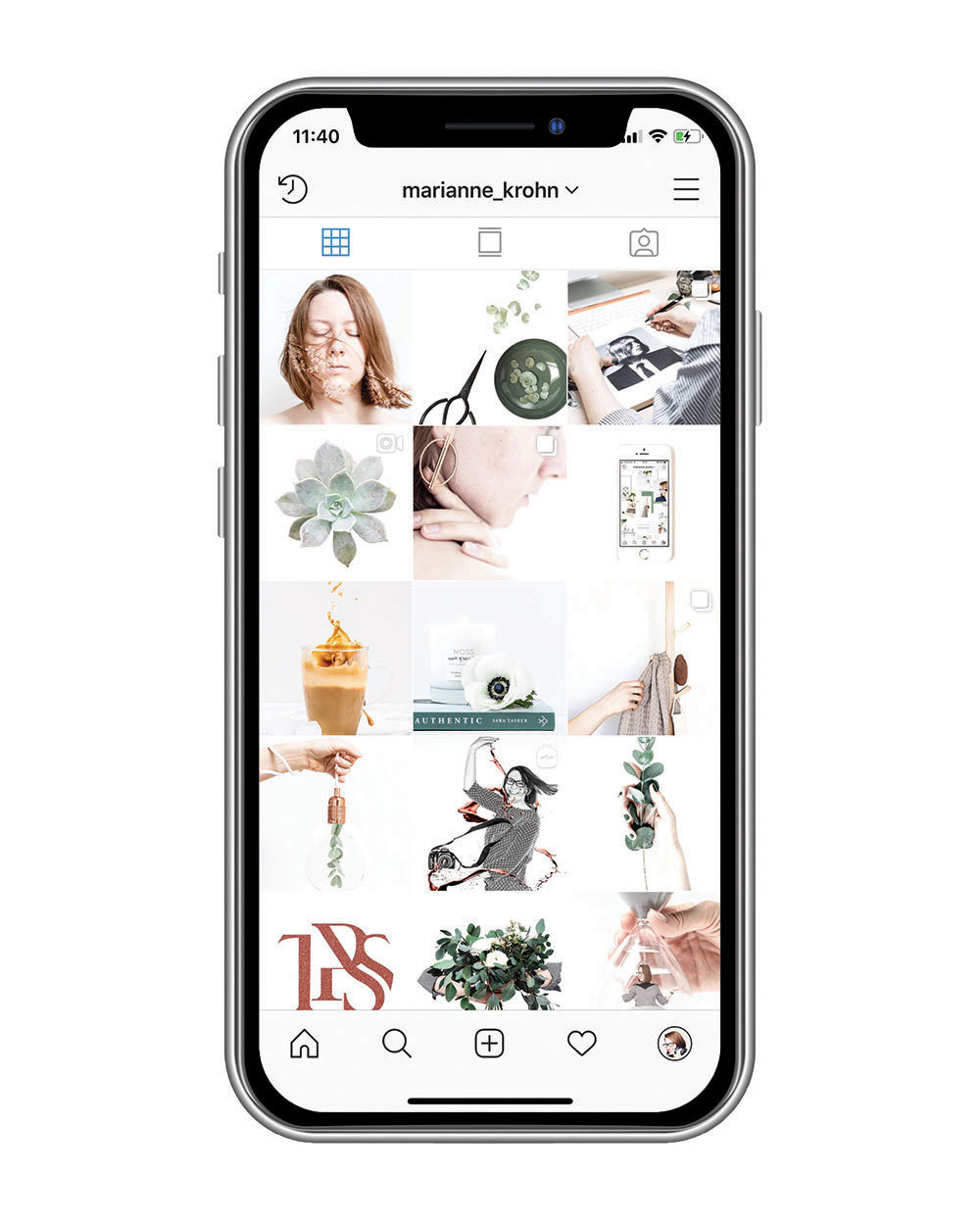 Front view of smartphone with The Product Stylist Instagram feed